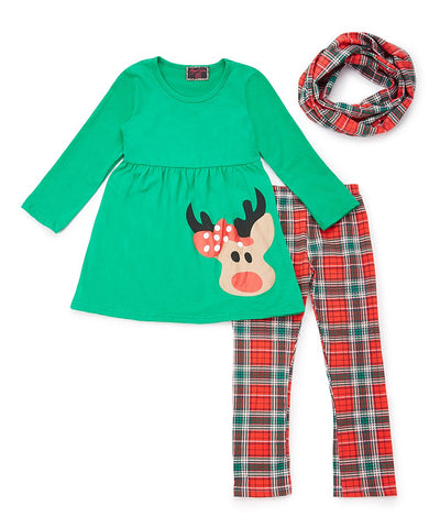 3pc Red & Green Plaid Reindeer Scarf Set