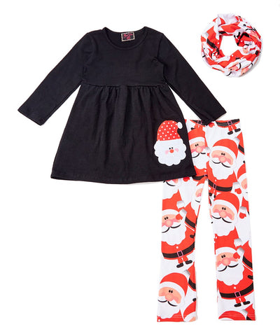 3pc Black Santa Christmas Scarf Set