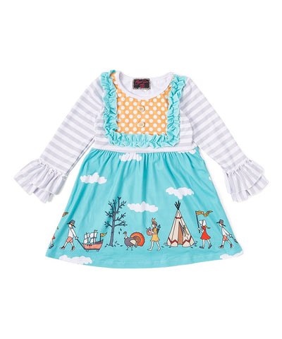 Teal Pilgrim Ruffle Thanksgiving Dress