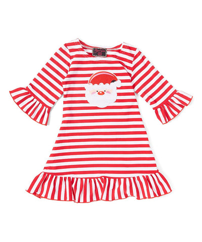 Red Striped Santa Ruffle Dress