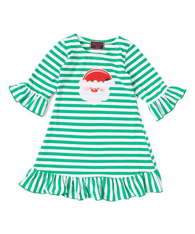 Green Striped Santa Ruffle Dress