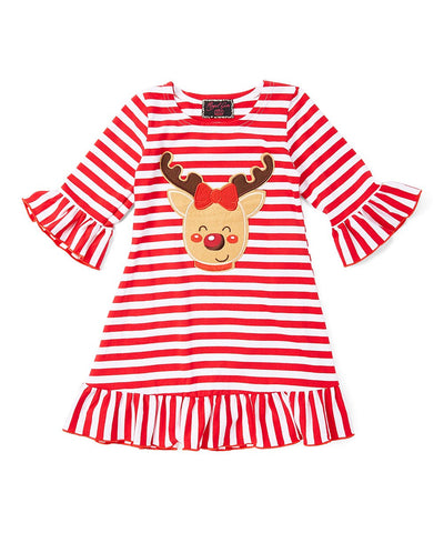 Red Striped Reindeer Ruffle Dress