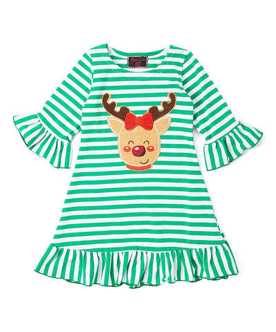 Green Striped Reindeer Ruffle Dress
