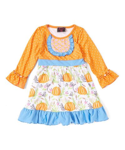 Orange & Blue Pumpkin Ruffle Dress