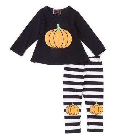Pumpkin Striped Knee Pant & Top Set