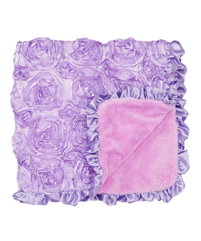 Purple Rosette Satin Stroller Blanket