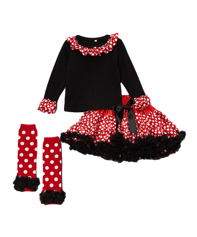 Red & Black Dot Pettiskirt & Top Set w/ Warmers