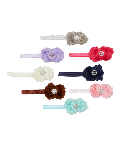 8pc Shabby Pastel Floral Headband Set