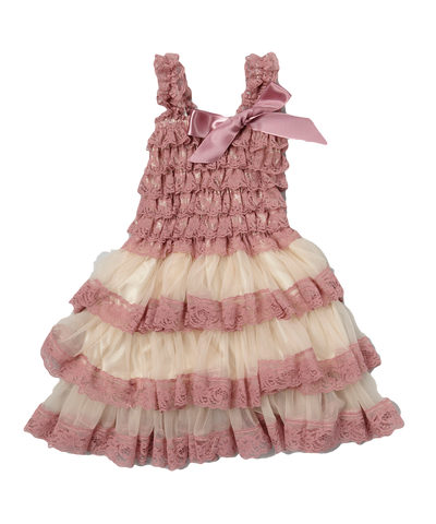 Mauve & Tan Satin & Chiffon Flower Girl Tiered Dress