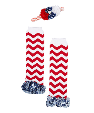 4th of July Flag Ruffle Leg Warmers & Headband