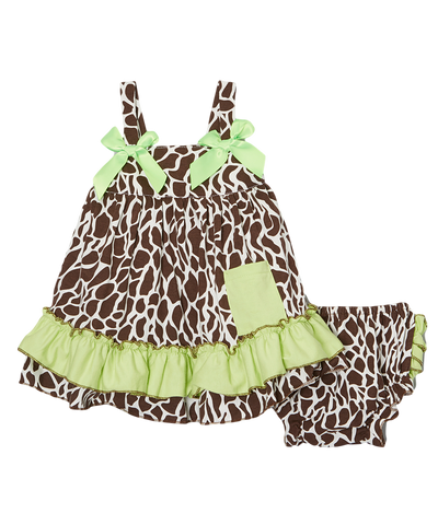 Brown Giraffe & Green Swing Top & Diaper Cover Set