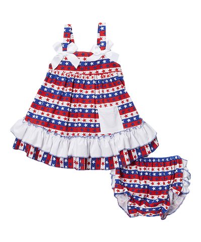 Red & Blue Stars & Stripes Swing Top & Diaper Cover Set