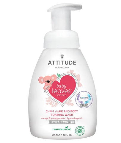 ATTITUDE Baby Leaves 2-in-1 Hair & Body Foaming Wash / Orange & Pomegranate