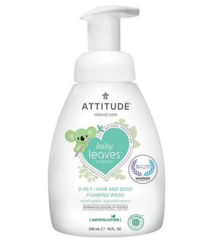 ATTITUDE Baby Leaves 2-in-1 Hair & Body Foaming Wash / Sweet Apple