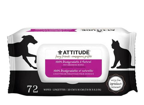 ATTITUDE Furry Friends Pet Grooming Wipes / Fragrance Free
