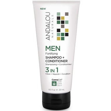 Andalou Naturals Men Fortifying Shampoo & Conditioner 3-in-1