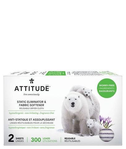 ATTITUDE Nature + Static Eliminator & Softener / Reusable Dryer Cloth