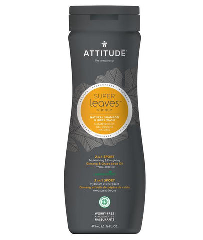 ATTITUDE Super Leaves MEN 2-in-1 Shampoo & Body Wash / Sport
