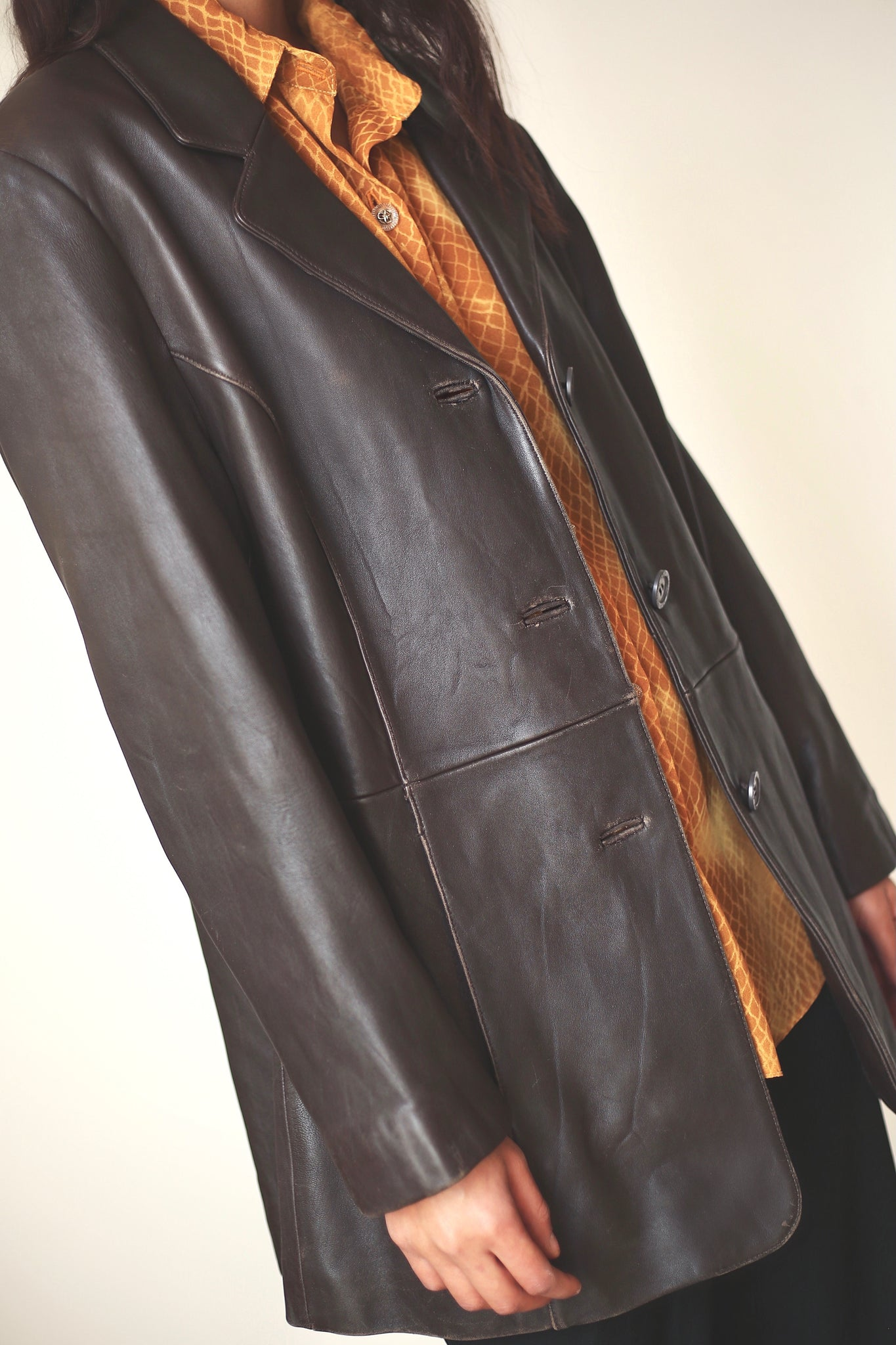 Brown Leather Blazer