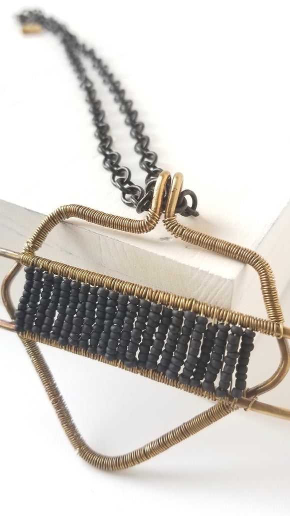 Black Lava Beads and Brass Essential Oil Diffuser Necklace