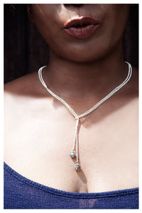 SALE!!! STERLING SILVER LARIAT NECKLACE WITH WIRE WRAPPED LABRADORITE BEADS