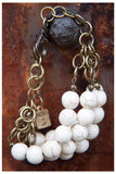 SALE!!! CREAM HOWLITE AND MULTI BRASS CHAIN NECKLACE