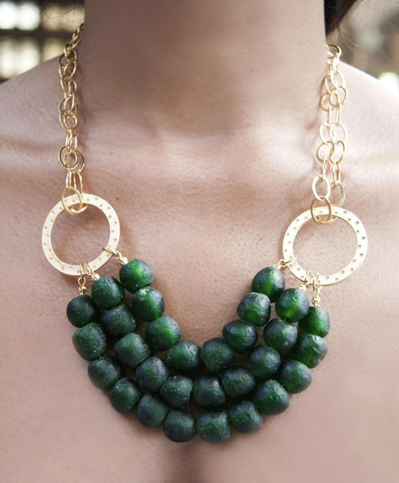 SALE!!! EMERALD GREEN AFRICAN GLASS BEADED MULTI CHAINED NECKLACE