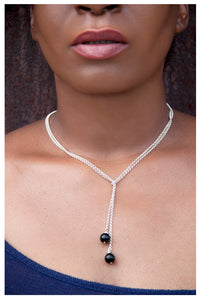 SALE!!! STERLING SILVER ONYX LARIAT NECKLACE