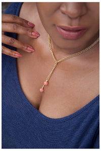 SALE!!! GOLD CHAIN LARIAT NECKLACE WITH PINK STONE
