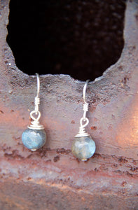 SALE!!! STERLING SILVER WIRE WRAPPED LABRADORITE EARRINGS