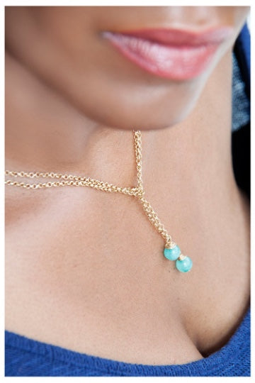SALE!!! GOLD CHAIN LARIAT NECKLACE WITH WIRE WRAPPED TEAL BEADS