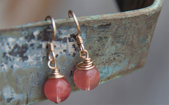 SALE!!! PINK WIRE WRAPPED GOLD EARRINGS