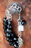 SALE!!! BLACK CZECH GLASS BEADED MULTI SILVER CHAIN NECKLACE