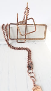 Antique Bronze Rectangle and Square Geometric Statement Necklace