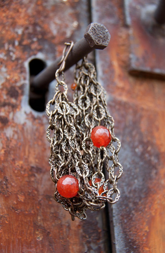 SALE!!! ANTIQUE BRASS CHAIN BRACELET WITH CARNELIAN BEADS
