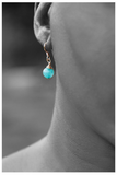SALE!!! TEAL WIRE WRAPPED GOLD EARRINGS