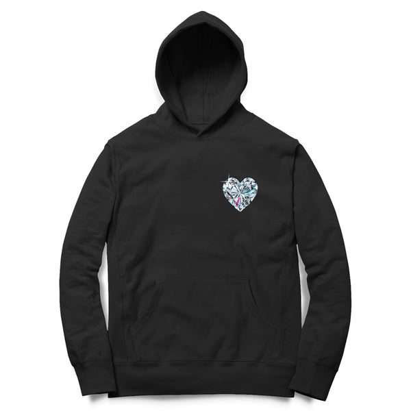 """Diamond Heart"" Black Hoodie"