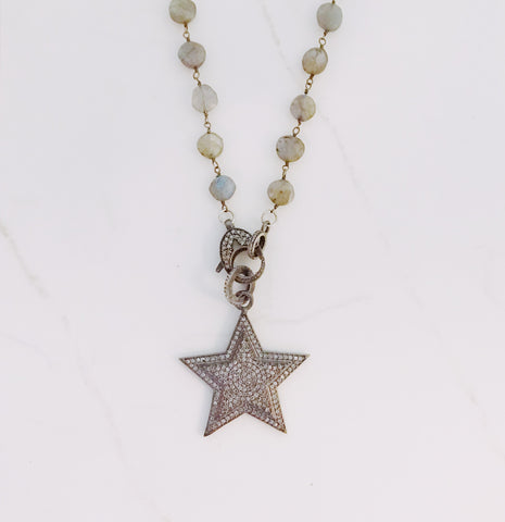 Pave diamond star pendant in oxidized sterling silver