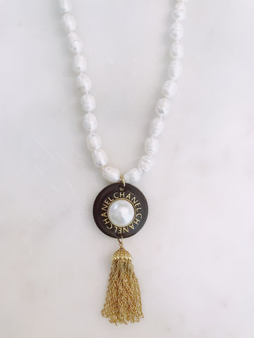 Freshwater pearls, vintage tassel, vintage hardware, designer button, gold accents, one of a kind jewelry