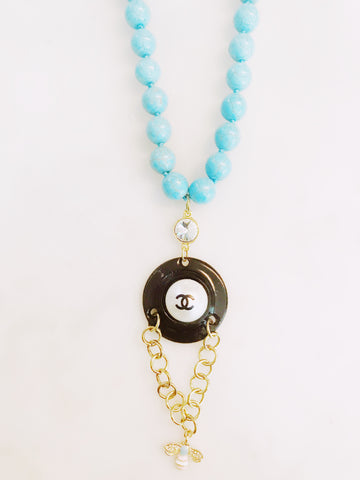 Blue turqoise beads, vintage hardware, designer button, gucci like bee