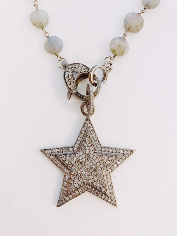 Pave Diamond Star and Labradorite Chain