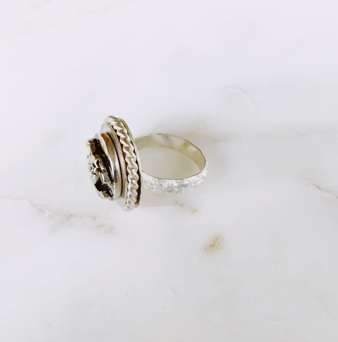 Antiqued Designer Button Silver Ring