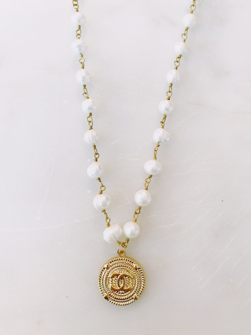 Gold Designer Button with Pearl Chain