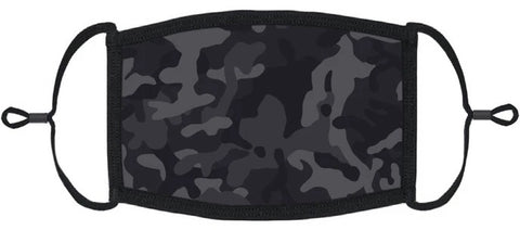 YOUTH SIZE - Black Camouflage Fabric Face Mask
