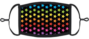 YOUTH SIZE - Rainbow Stars Fabric Face Mask