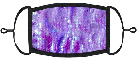YOUTH SIZE - Periwinkle Sequin Fabric Mask