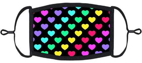 YOUTH SIZE - Rainbow Hearts Fabric Face Mask