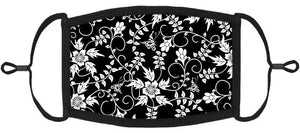 Black & White Floral Fabric Face Mask