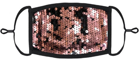 YOUTH SIZE - Rose Gold/Black Flip Sequin Face Mask