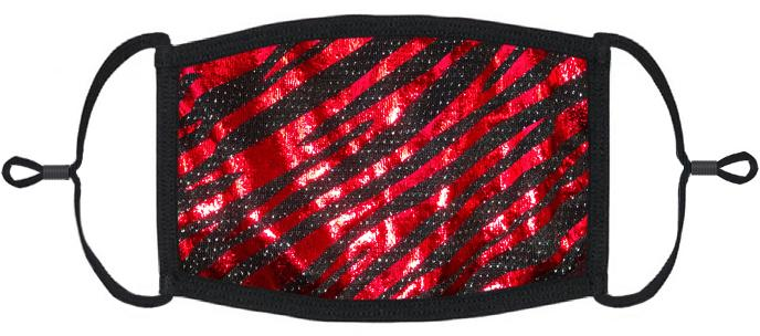 Red Foil Animal Print Face Mask
